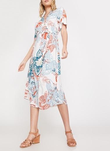 Koton Koton Çiçek Desenli Beyaz Elbise Mavi